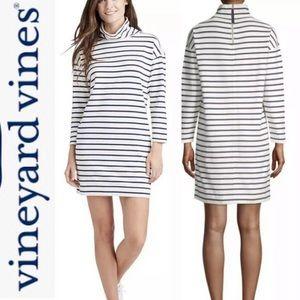Vineyard Vines Funnel Neck Dress 3/4 Sleeve Stripe